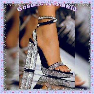 Shoes - 🆕🖤💎Glam Rhinestone Ankle Wrap Sandal Heels💎🖤